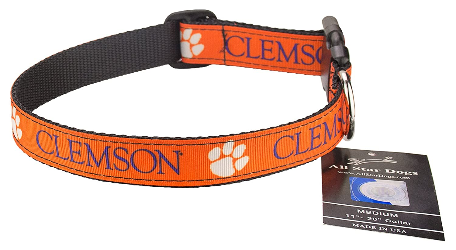 Lg 1in w Fits 19in-30in Clemson Tigers Ribbon Dog Collar Large