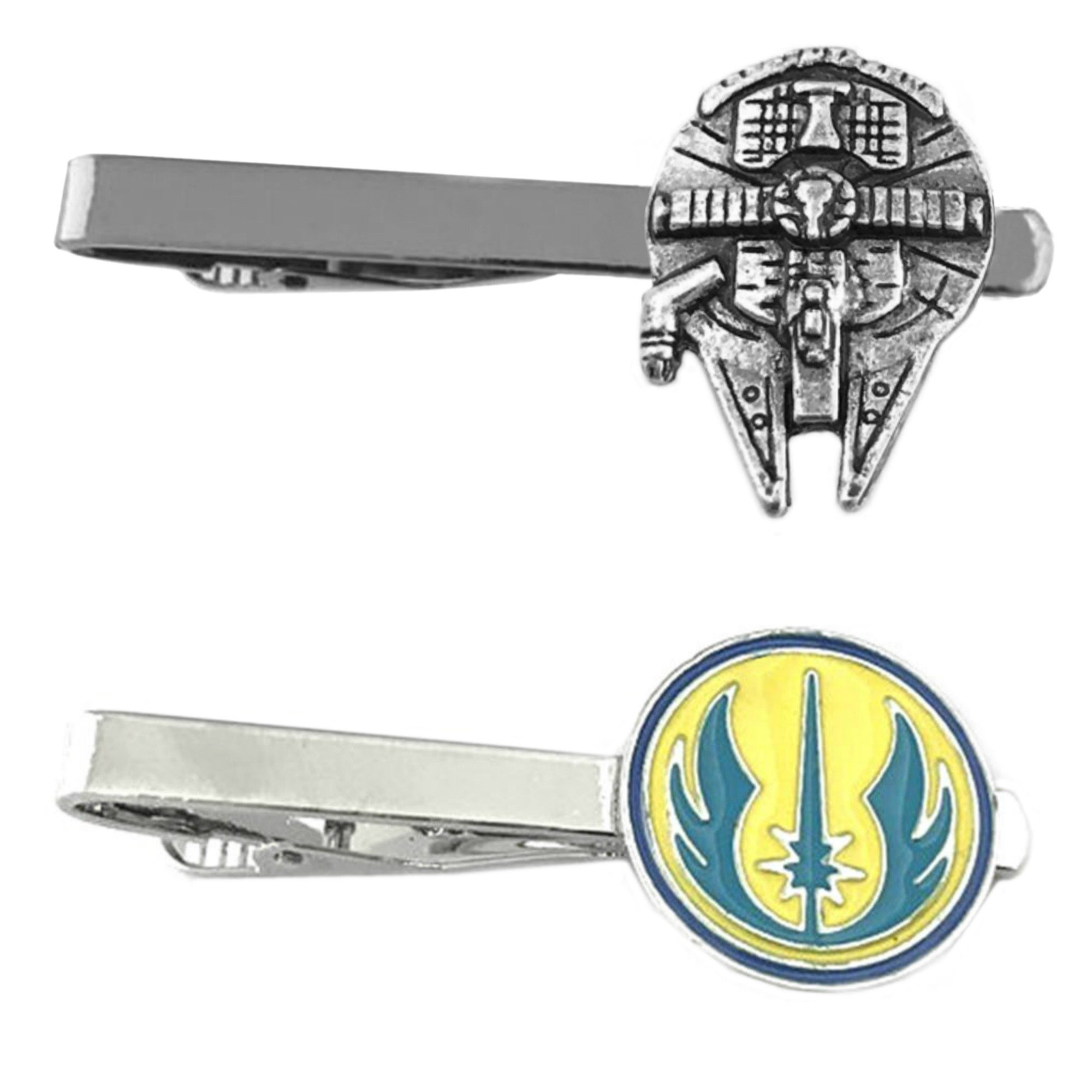 Outlander Star Wars - Millenium Falcon & Jedi - Tiebar Tie Clasp Set of 2 Wedding Superhero Logo w/Gift Box