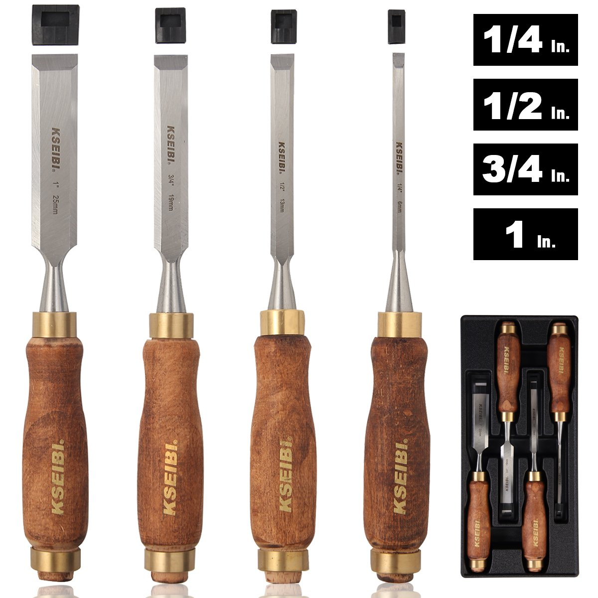 Premium Wood Chisel Set Chrome Manganese Blades for Woodworking, Carving, Woodworking Chisels with Wooden Handles (4PC Set with Tray Box Organizer)
