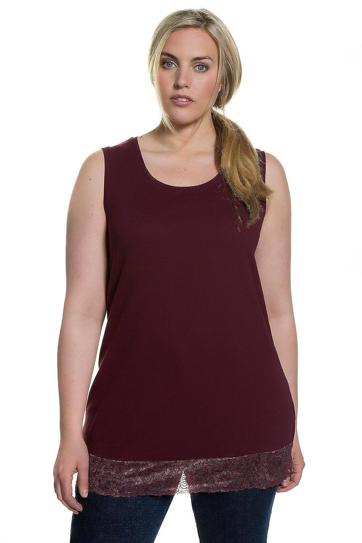 Ulla Popken Women's Plus Size Long Round Neck Knit Tank 704840