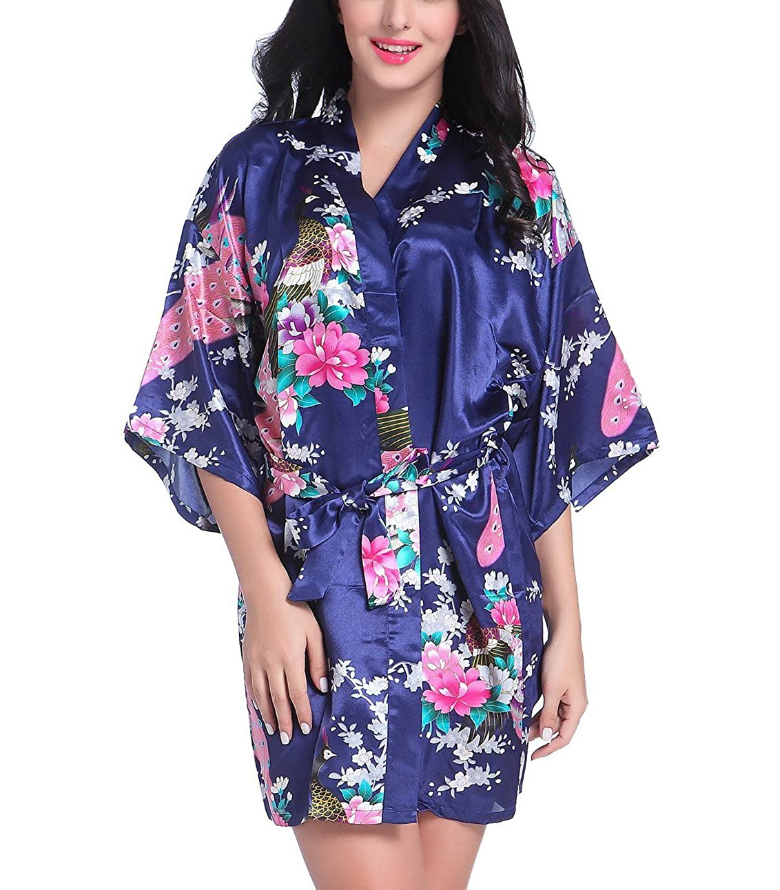 Admireme Women s Bridesmaid Robes Short Peacock Blossoms Kimono Robe  Dressing Gown Floral Robes at Amazon Women s Clothing store  b34402400