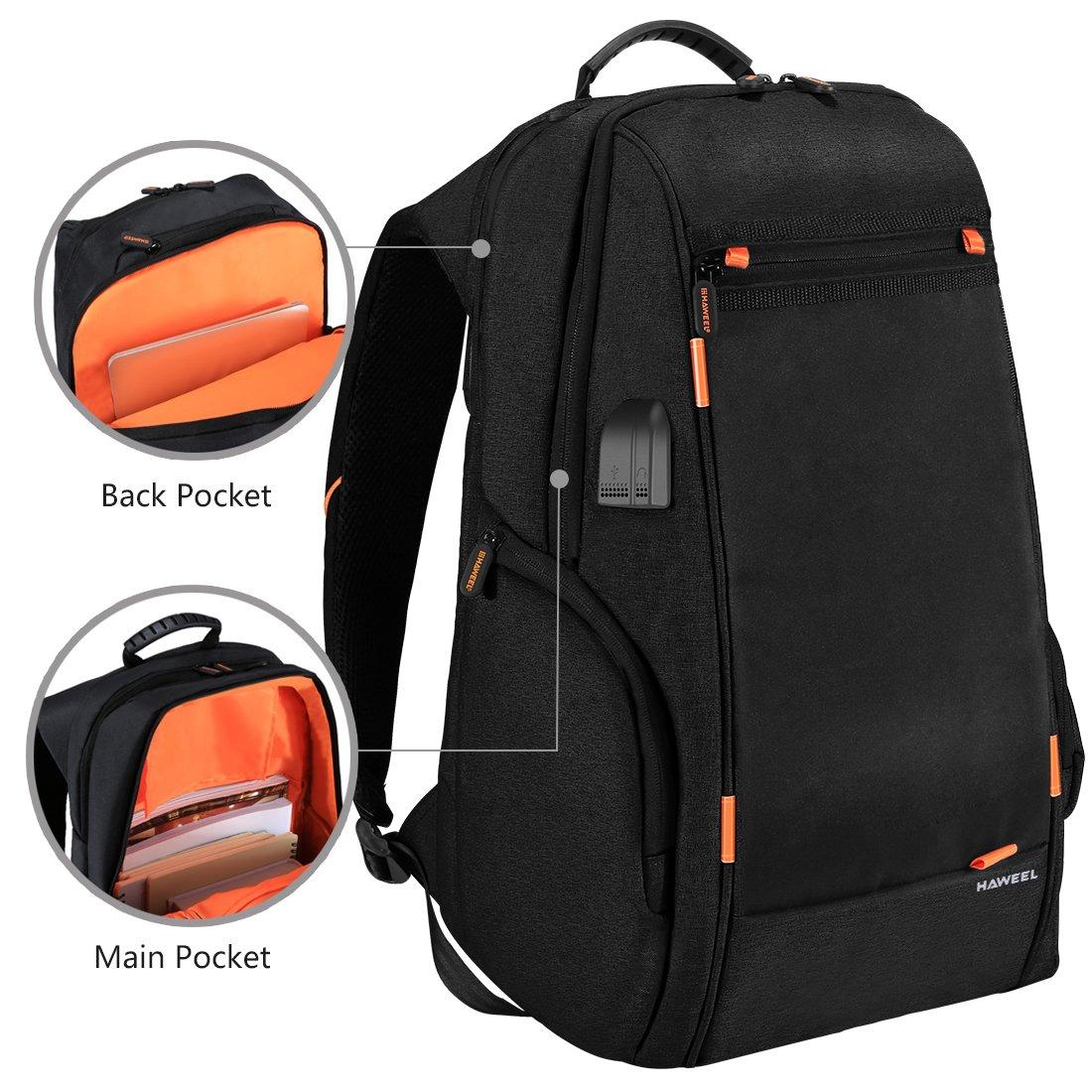 CELINEZL Bags HAWEEL Outdoor-Multifunktions-Komfortabel atmungsaktiv lässig Backpackage Laptoptasche mit mit mit Griff, externer USB-Ladeanschluss & Kopfhöreranschluss (Schwarz) B07Q4JQBDD Wanderruckscke Im Gegensatz zu dem gleichen Absatz a5abd6