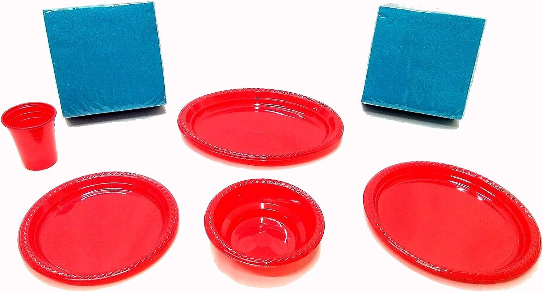 elegi. Platos de Plástico Desechables y Reciclables. Pack Fiesta 142 Piezas Rojo (20 Vasos, 18 Cuencos, 10 Bandejas, 22 Platos, 72 servilletas Turquesa). Cumpleaños, Fiestas, Picnics, Niños, Bebé.