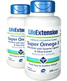 Life Extension Super Omega-3 EPA or DHA with Sesame Lignans and Olive Fruit Extract Softgels, 240 Count (240 ( 2 PACK))