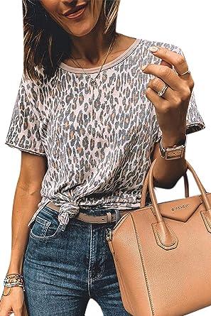Camisetas Mujer Manga Corta Leopardo Casual Tops Blusa Camisa Cuello Redondo Basica Camiseta Suelto Verano Tops T-Shirt tee Leopardo2 S: Amazon.es: Ropa y accesorios