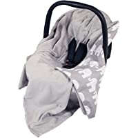 NEW DOUBLE-SIDED BABY WRAP FOR CAR SEAT/BABY TRAVEL WRAP/BABY CAR SEAT BLANKET - GREY/GREY WITH WHITE ELEPHANTS WRAP/BLANKET / COVER/COSYTOES - FOOTMUFF! 100x100cm - WRAP WITH SEAT BELT HOLES