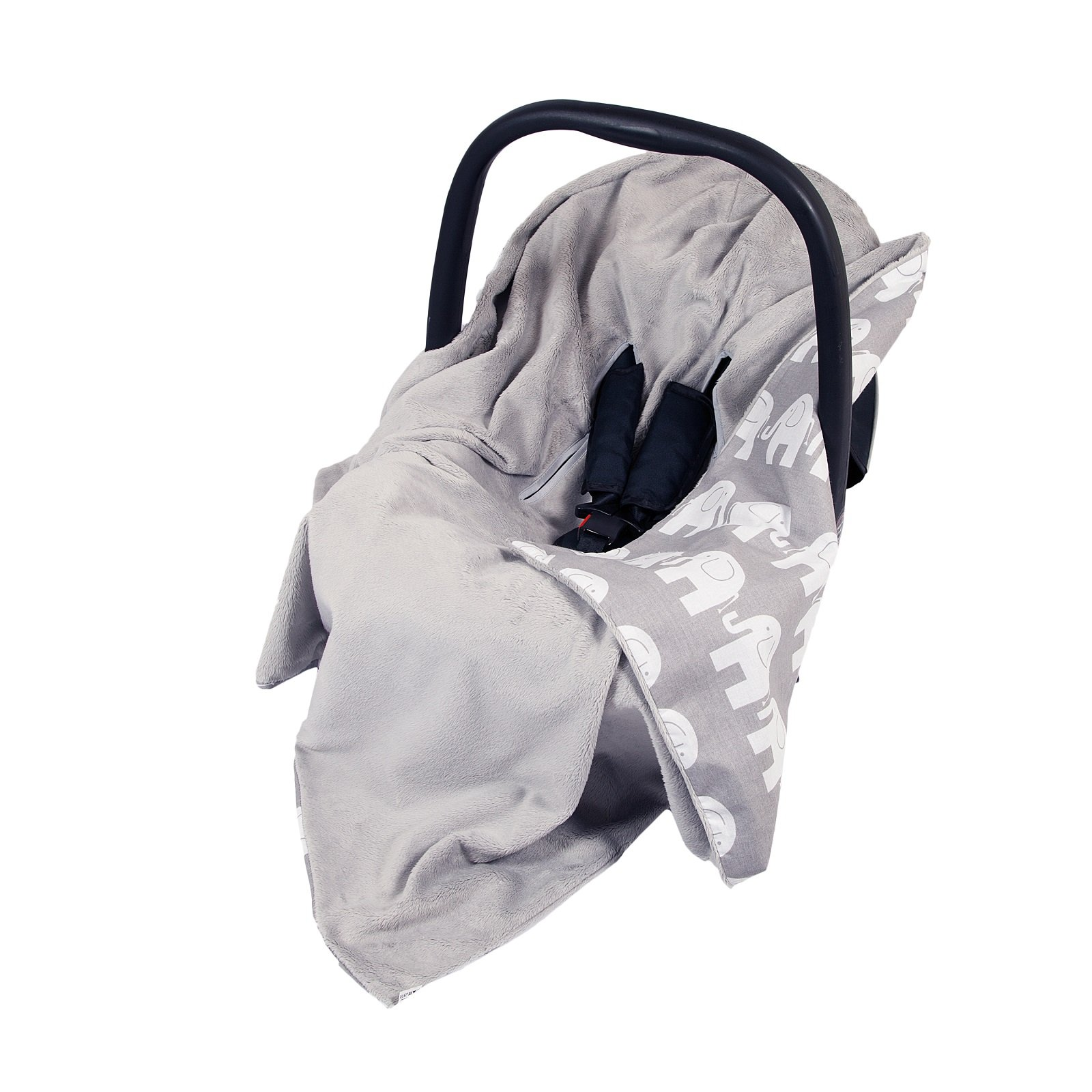 896ebf6893a NEW DOUBLE-SIDED BABY WRAP FOR CAR SEAT BABY TRAVEL WRAP BABY CAR SEAT  BLANKET - GREY GREY WITH WHITE ELEPHANTS WRAP BLANKET COVER COSYTOES -  FOOTMUFF!