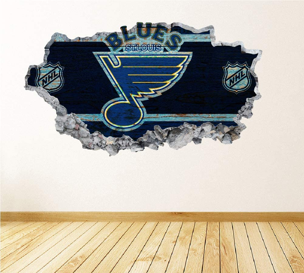 Hockey St. Louis Team Wall Decals Art 3D Smashed Fan Blues Wall Decor Bedroom Garage Removable Vinyl Wall Stickers Gift WL39