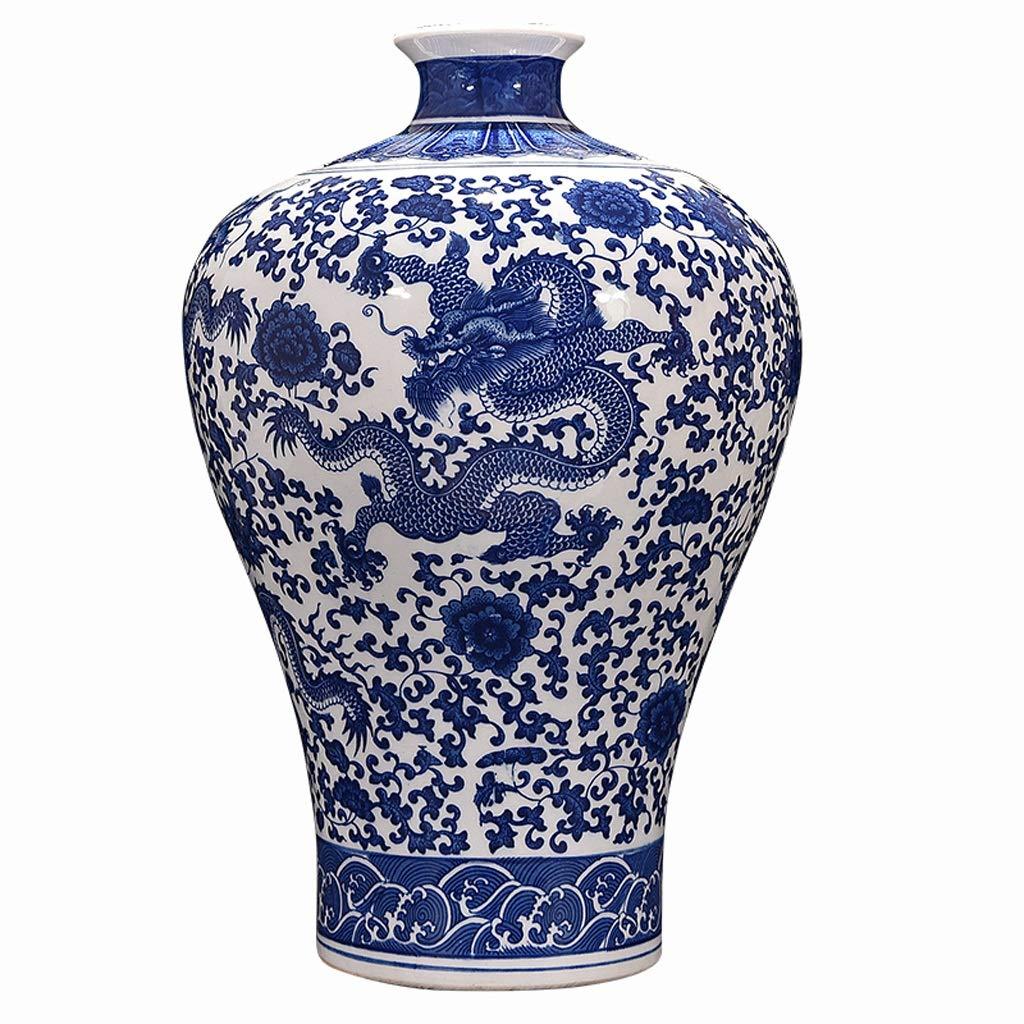 MAHONGQING 花瓶セラミックス青と白の磁器アンティーク花瓶フラワーアレンジメントリビングルーム中国の家の装飾ギフトテレビキャビネット装飾 B07RV9WGQS