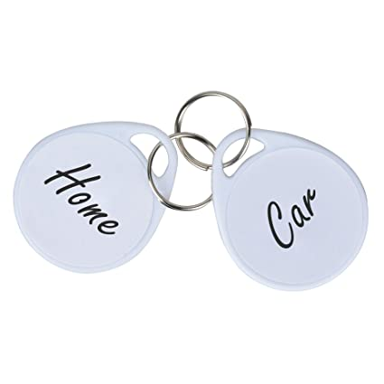 White Key Tag >> Uniclife 50 Pack Plastic Key Tags With Split Ring Label White