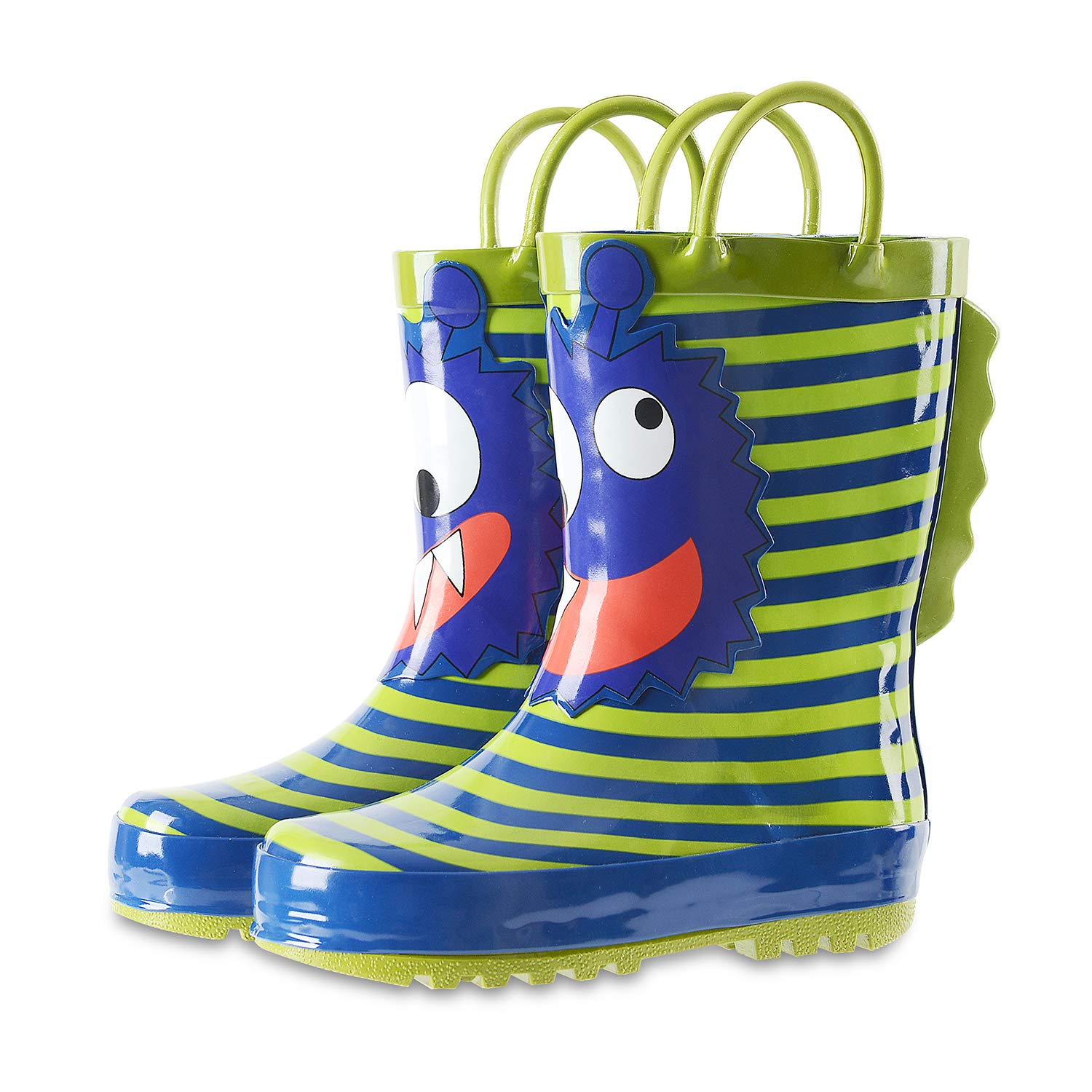 Waterproof Printed Rubber Rainboots with Easy-On Handles for Toddler//Little Big Kids KushyShoo Kids Boy Rain Boots