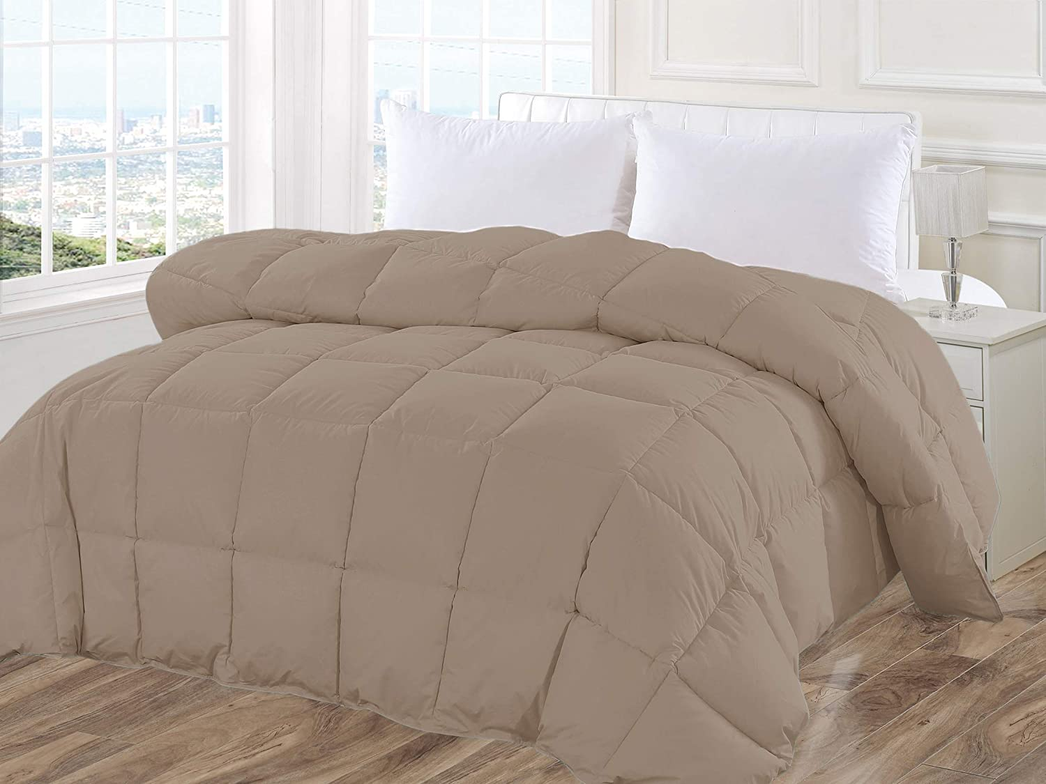 Melange Home 700-Fill Duck Down Cotton Shell Comforter Full/Queen, Simply Taupe