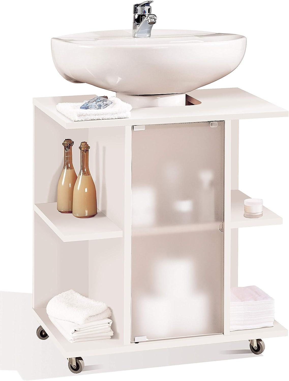 Miroytengo Mueble baño Aseo bajo Color Blanco para Lavabo pie Pedestal estantes Puerta y Ruedas 59x45x64 cm