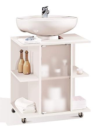 Miroytengo Mueble baño Aseo bajo Color Blanco para Lavabo pie Pedestal estantes Puerta y Ruedas 59x45x64 cm: Amazon.es: Hogar