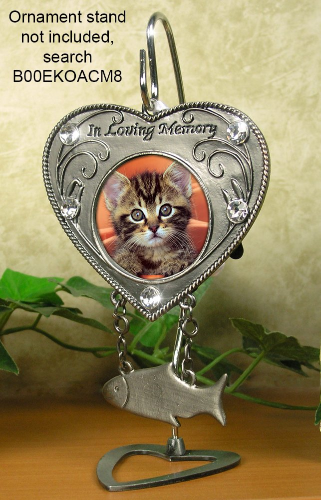 Pet Memorial Gift In Memory of Cat Pet Sympathy Gift Heart Shaped Photo Ornament with Hanging Fish Charm BANBERRY DESIGNS Cat Photo Memorial Ornament