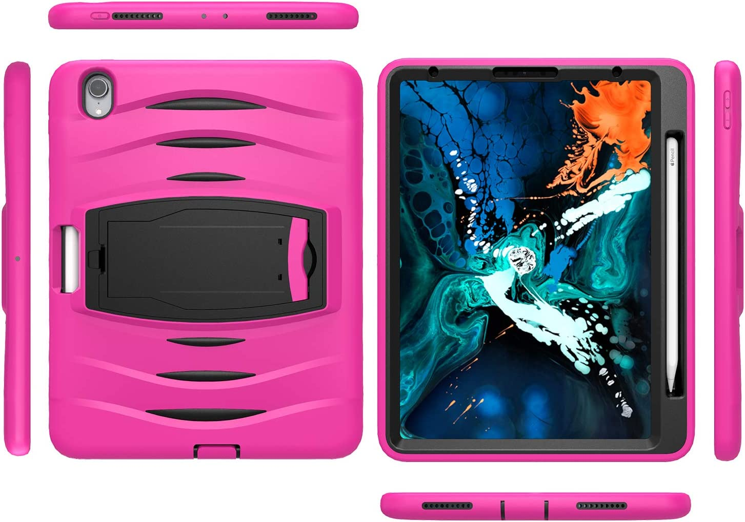 KIQ Full-Body Heavy Duty Military Rugged Shockproof Case Cover Stand Screen Protector for Apple iPad Pro 11 2018 iPad Pro 11-inch Case Armor Hot Pink Holds 2nd Gen Apple Pencil
