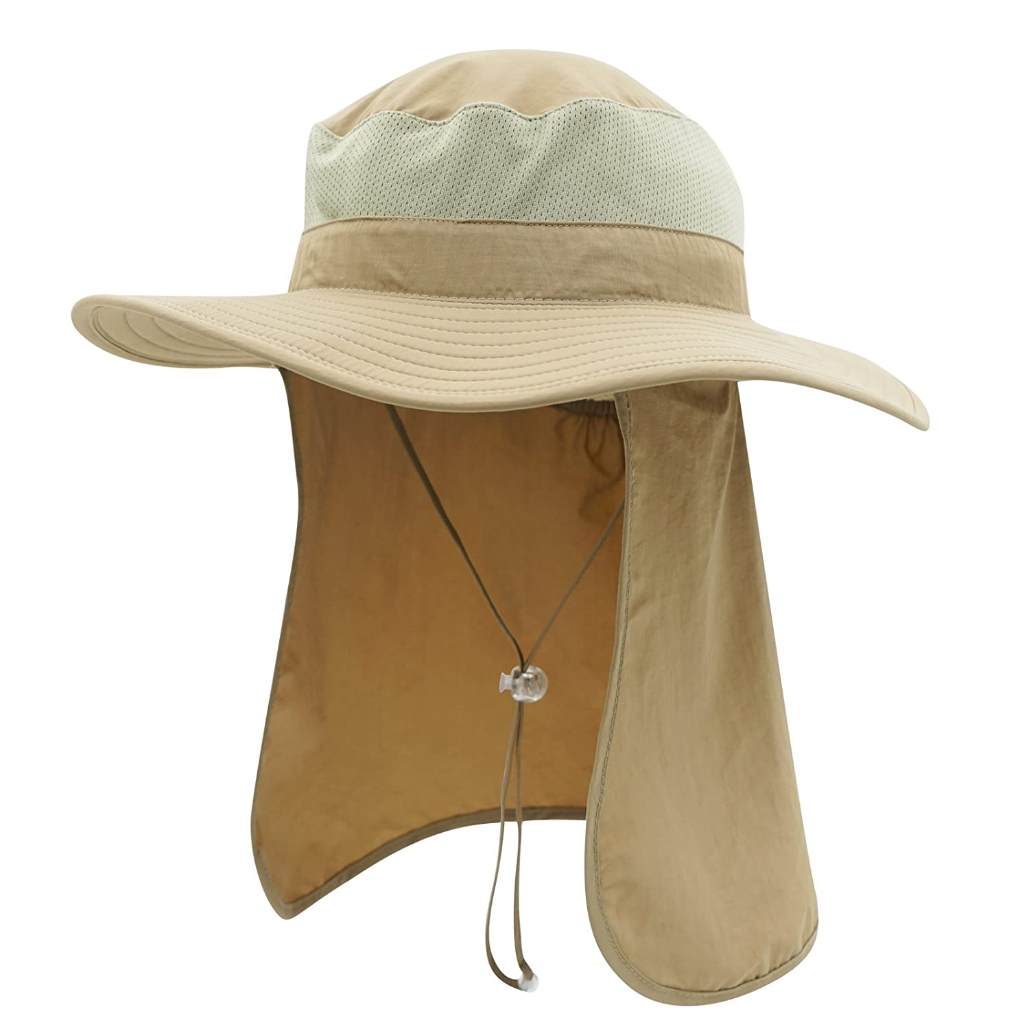 863ff65ef55 Home Prefer UPF50+ Men s Sun Hat with Neck Flap Mesh Bucket Hat Outdoor  Fishing Hat Khaki at Amazon Women s Clothing store