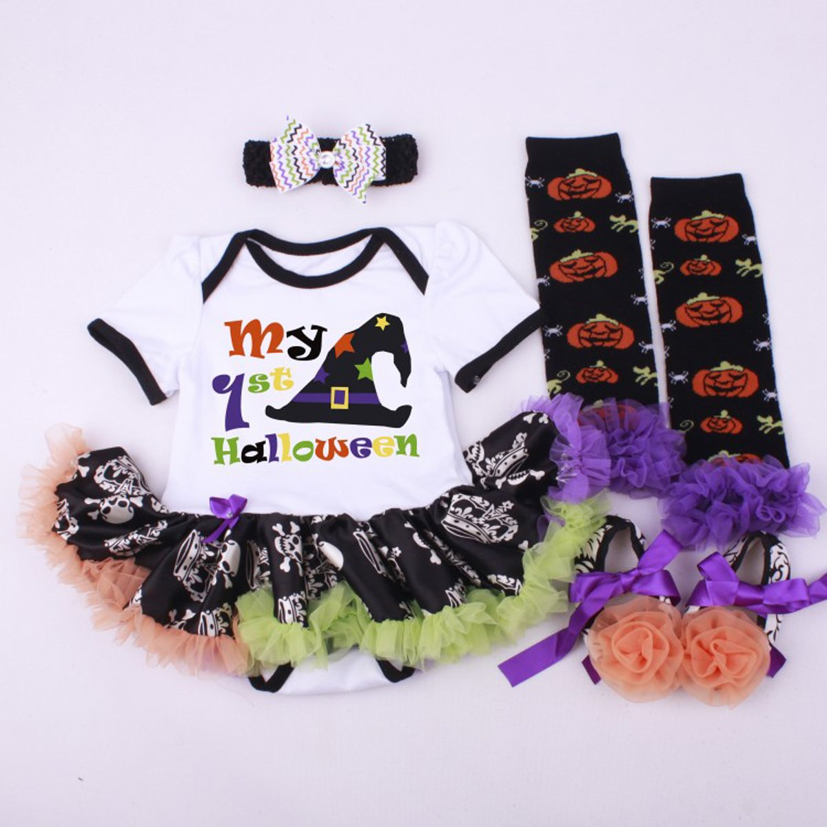 Marlegard Baby Girls 4PCs My 1st Halloween Hat Dress Headband Shoes Leg Warmers