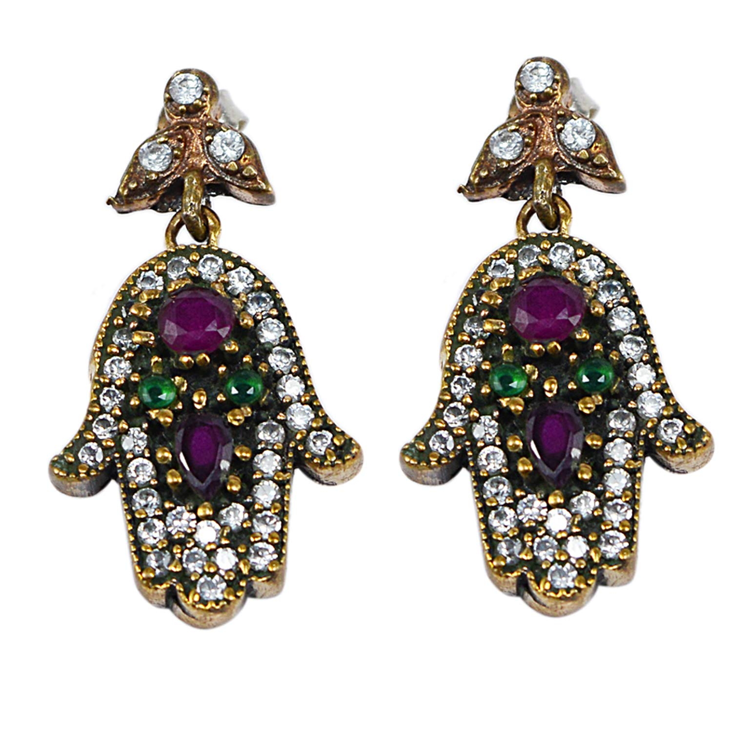 Emerald Saamarth Impex Ruby /& Topaz 925 Sterling Silver With Bronze Turkish Drop Earring PG-129932 Created