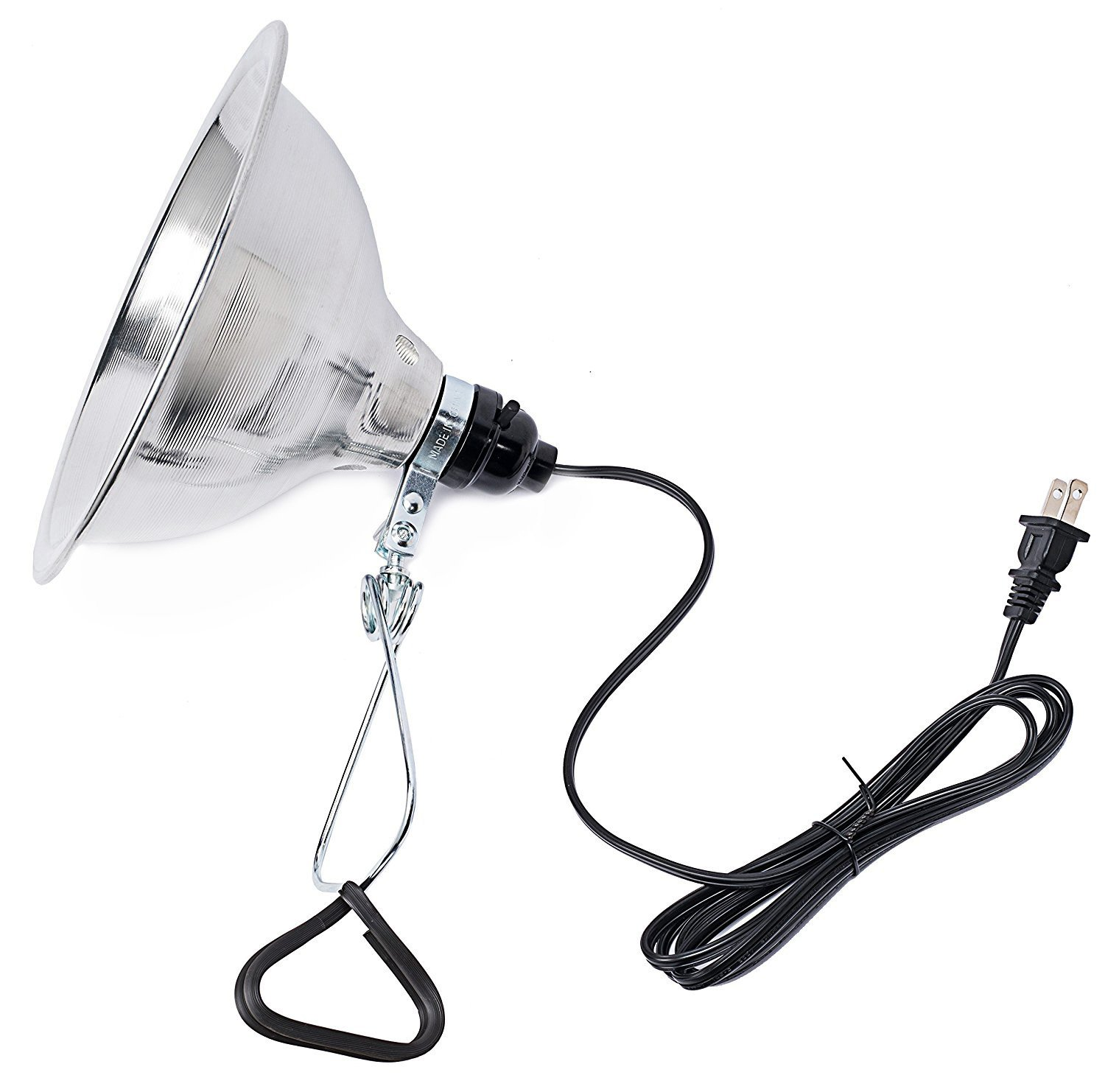 Simple Deluxe Clamp Lamp Light with 8.5 Inch Aluminum Reflector up to 60 Watt E26 (no Bulb Included) 6 Feet Cord UL Listed