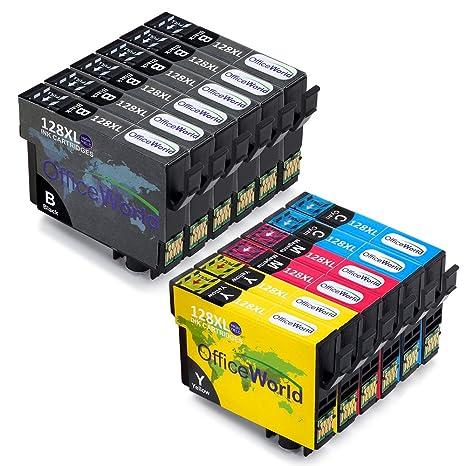 OfficeWorld Reemplazo para Epson T1281-T1284 (T1285) Cartuchos de Tinta Compatible para Epson