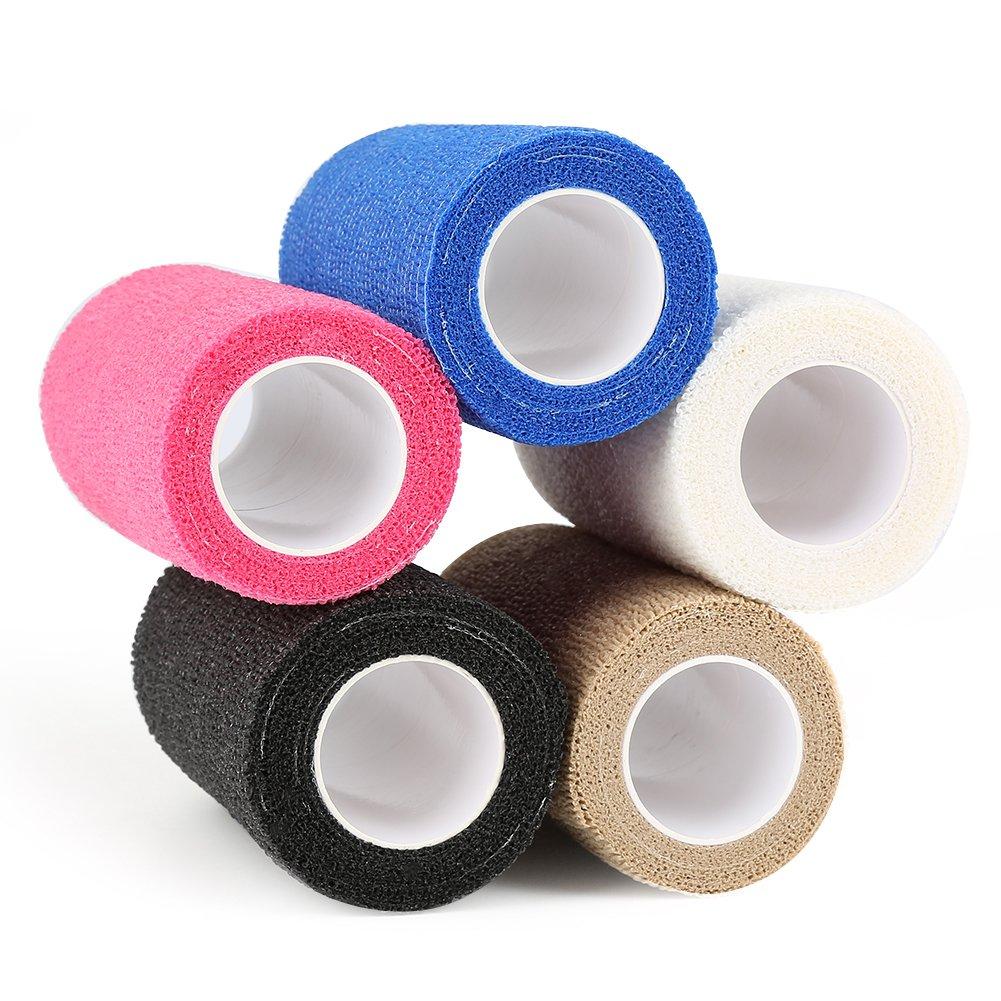 SINOTECHQIN 5PCS 10cm × 5m self Adherent Cohesive Wrap bendaggio elastico sport resistente nastro per caviglia slogature gonfiore, Blue, 10cm*5m