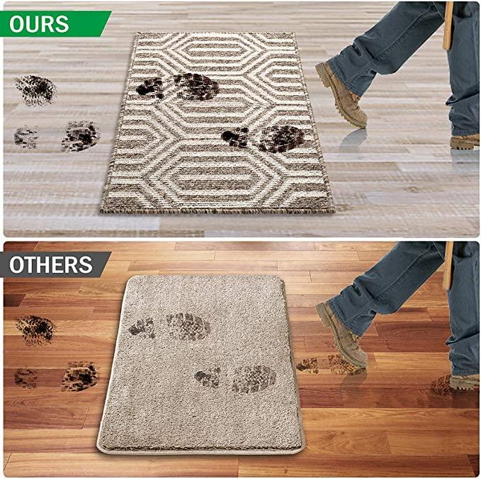 Refetone Indoor Doormat Front Door Mat Non Slip Rubber Backing Absorbent Mud And Snow Magic Inside Dirts Trapper Mats Low Profile Entrance Rug Machine Washable 24 X 35 5 Camel Kitchen Dining
