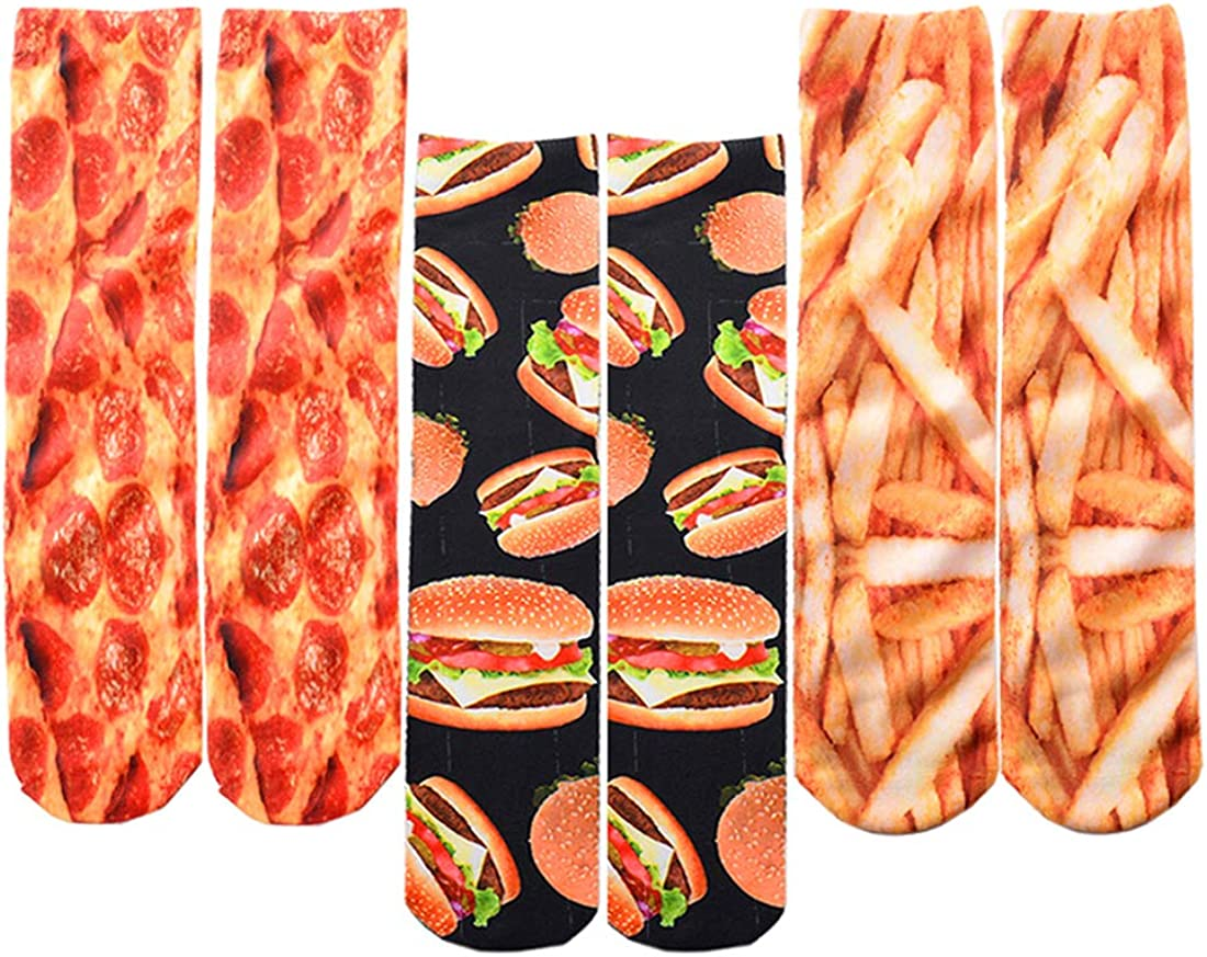 SherryDC Men's Novelty Funny Crazy Graphic Photo 3D Print Casual Long Crew Tube Socks