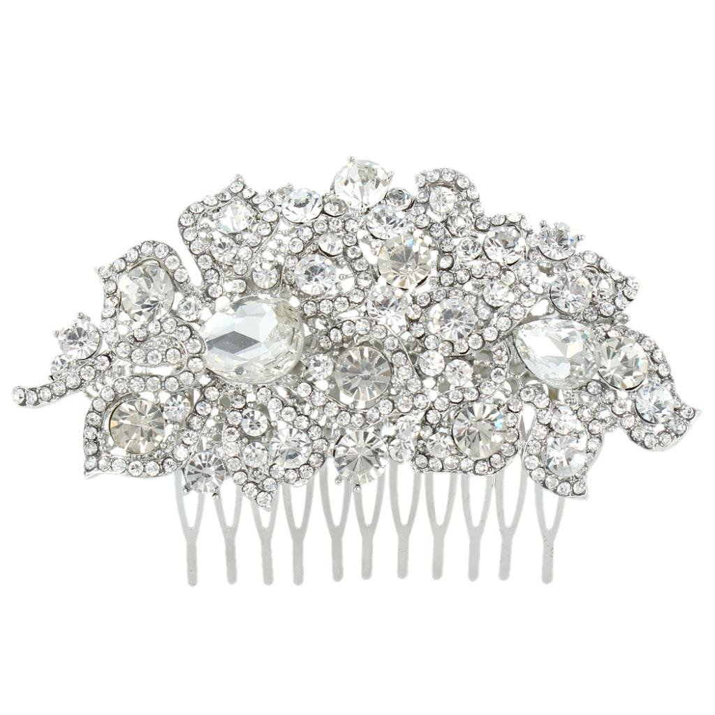 Ever Faith 4 Inch Bridal Silver-Tone Flower Leaf Teardrop Austrian Crystal Clear Hair Comb N01722-1