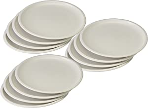 Set of 12 White Microwavable Plastic Plates - 10 Inch Black Duck Brand (12)