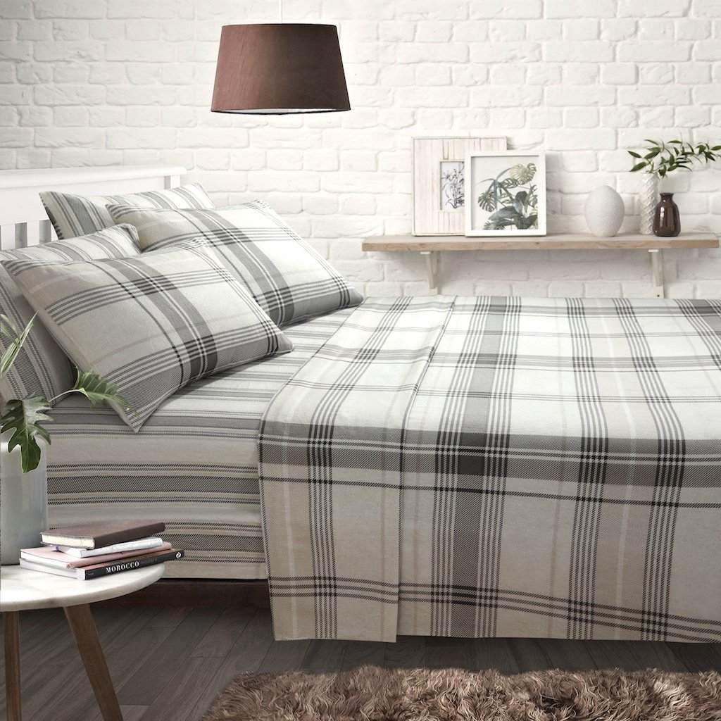 ShawsDirect Burlington Check 100% Pure Brushed Cotton Sheet Set | Includes Fitted Sheet, Flat Sheet & Pillowcase(s) | (Blue, King Size)