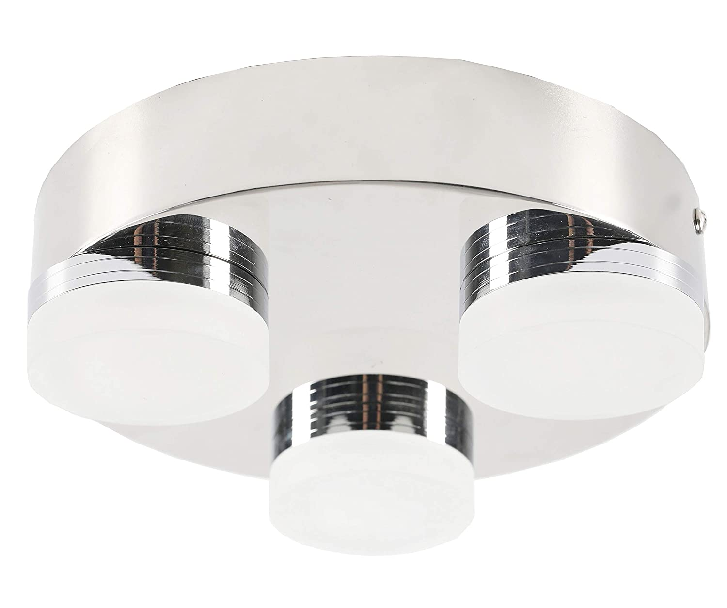 3 Round LED Bulbs Facon 12V RV Decorative LED Ceiling Dome Light with 3 LEDs Stainless Steel Base and Acrylic Lens Finished