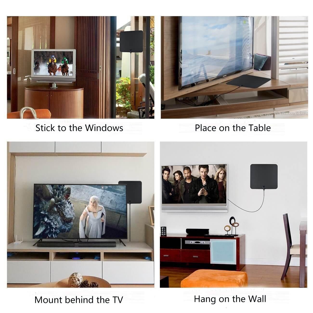 [NEWEST 2018] Wsky TV Antenna, 50-80 Long Miles Amplified HD Digital TV Antenna – Support 4K 1080p & All Older TV's for Indoor with Powerful HDTV Amplifier Signal Booster - Long Coax Cable by Wsky (Image #3)