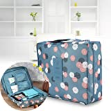 Makeup Bag, Cosmetic Organizer Waterproof Travel Bag Bathroom Storage Case Multifunctional Portable Toiletry Bags for Women Sturdy Hanging Pouch Lady Make Up Kit Carry Case with Hanging Hook 9 x 7 x 3.5inch