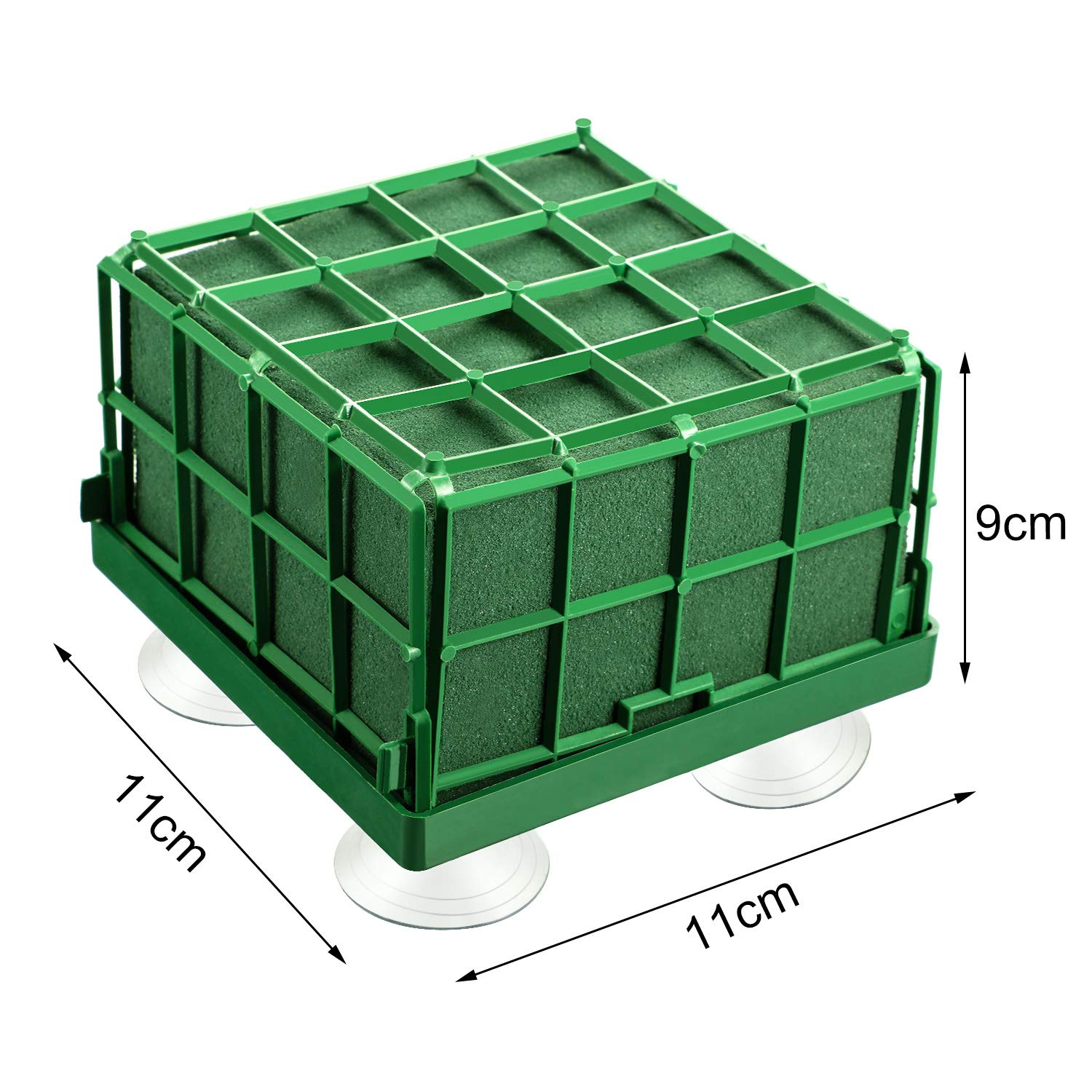 11 x 11 x 9 cm// 4.3 x 4.3 x 3.5 Inch Square Floral Foam Grande Cage Grande Flower Holder with Floral Foam for Fresh Flowers Cage Pack of 2