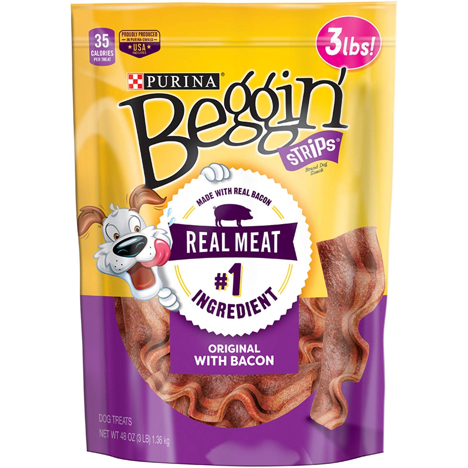Purina Beggin' Strips Made in USA Facilities Extra Large Pouches Adult Dog Training Treats