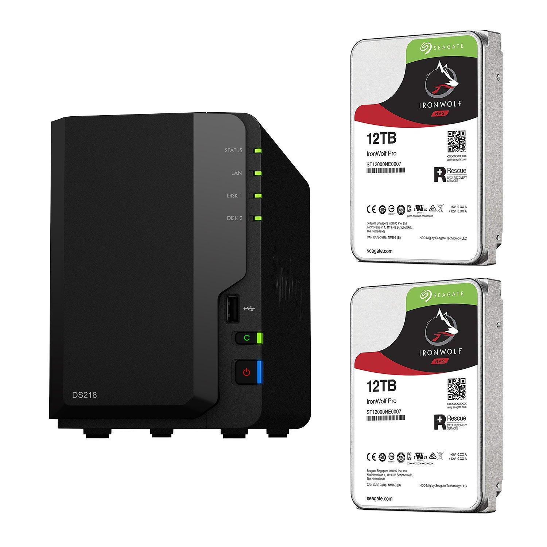 超ポイントアップ祭 【NAS HDDセット】Synology HDD [2ベイ/HDD DS218 & Seagate HDD [2ベイ/HDD DS218 IronWolf-12TBx2台同梱/ 64bitクアッドコアCPU 2GBメモリ搭載] B07FVZ2K7Q H) 12TB x 2台, 八戸市:b8a500e1 --- albertlynchs.com