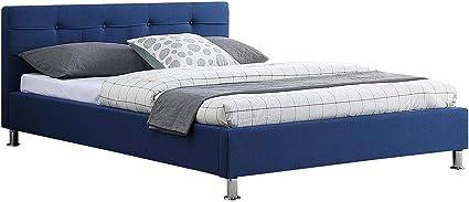 IDIMEX Cama Doble para Adulto Nizza Dormir 140 x 190 cm 2 plazas/2 Personas, con somier y Patas (Metal Cromado, Revestimiento de Tejido Acolchado Azul