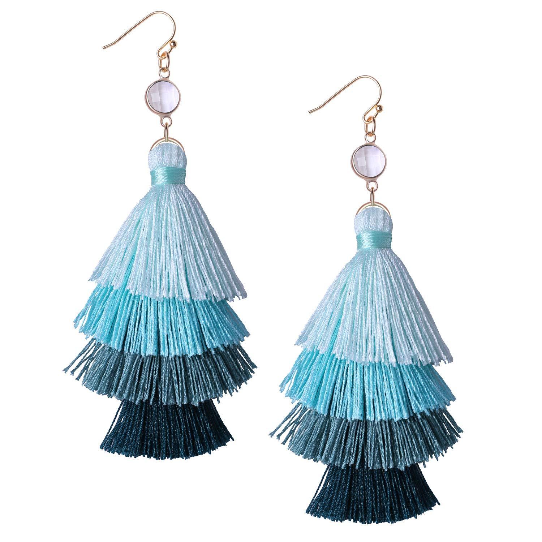 KELITCH Dangle Earrings Handmade Long Tassel Bohemia Statement Multi-Layers Drop Earrings (Sky Blue H)