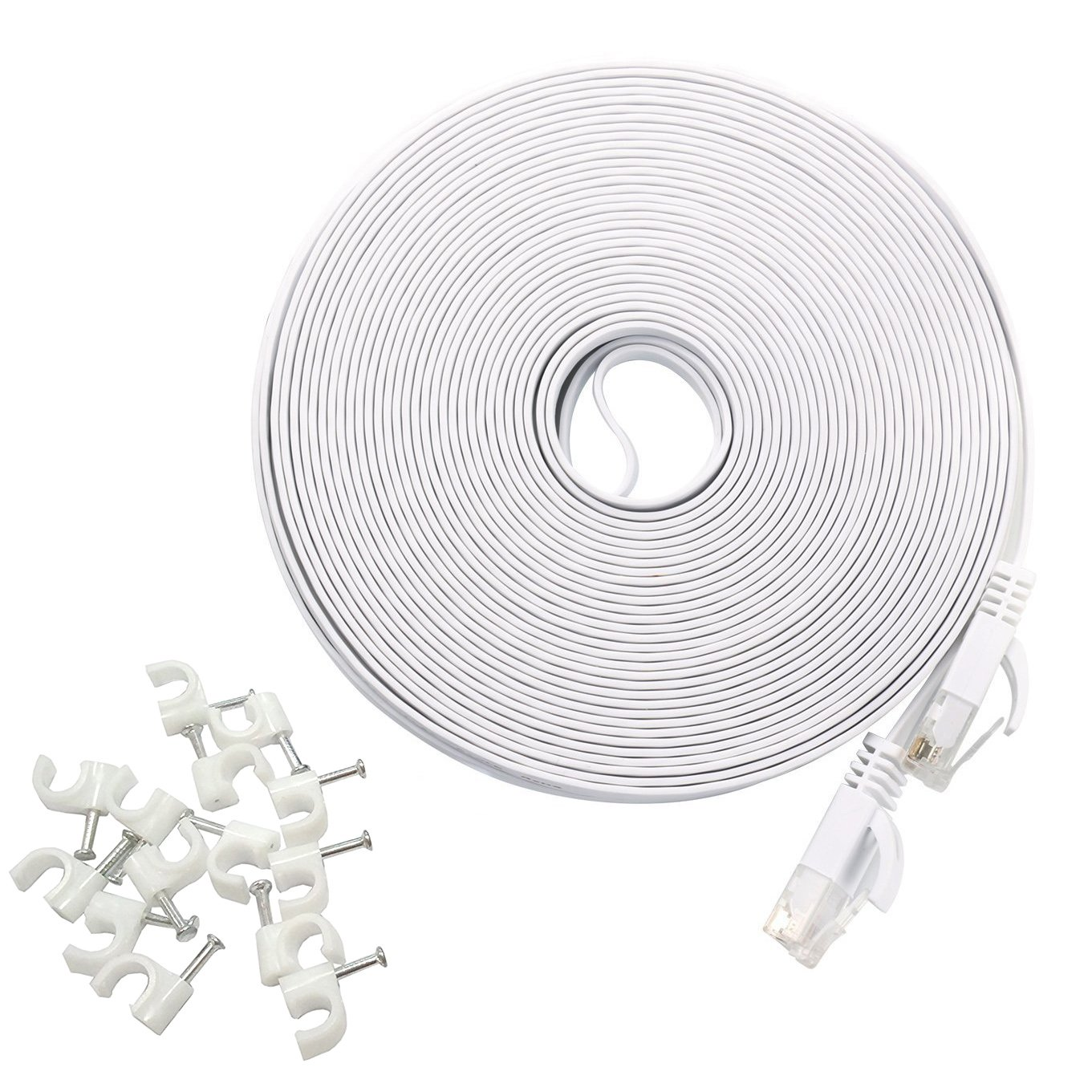 HANYUN Cat6 1000Mbps 250MHz Flat Ethernet Patch internet Cable (50 ft / 15 Meters - White) with Cable Clips with RJ45 Connectors Ultra Speed Gigabit for Modem Router LAN Printer MAC Laptop