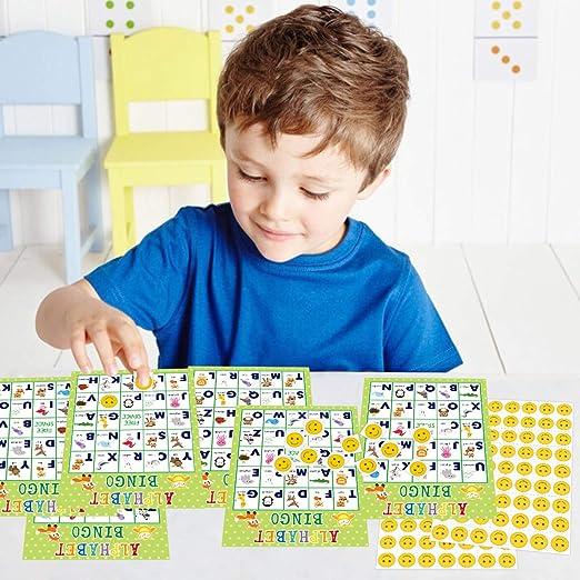 Juego de bingo con alfabeto, 24 jugadores para fiestas infantiles: Amazon.es: Juguetes y juegos