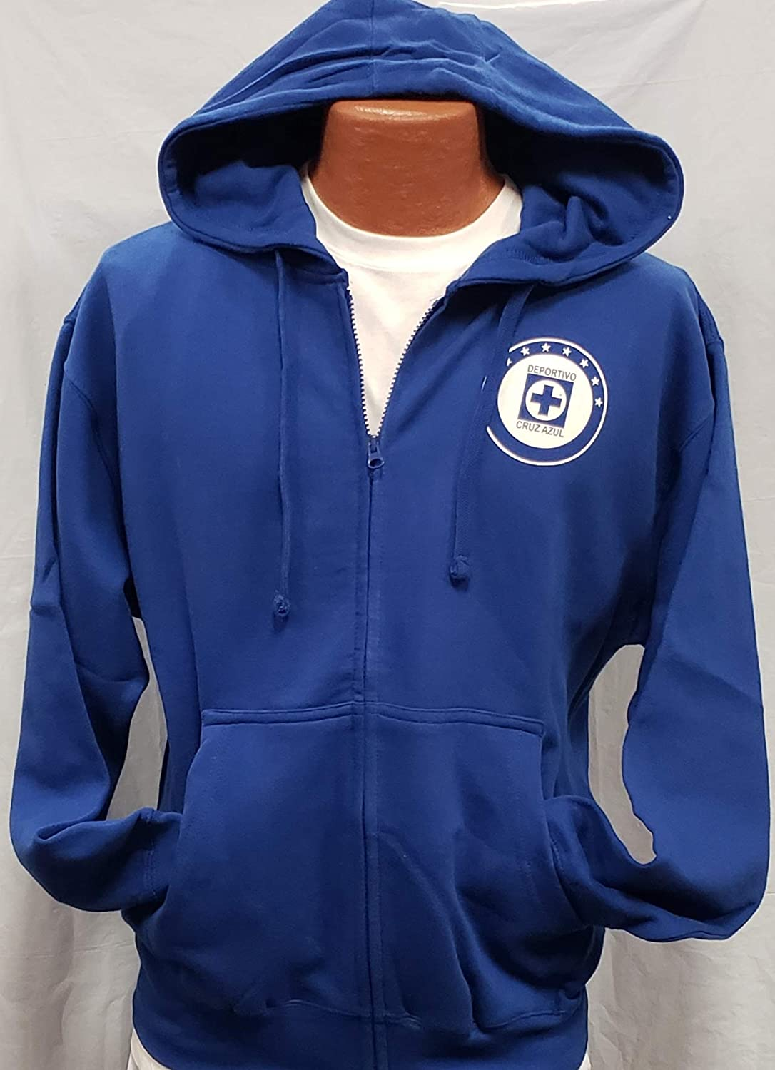 Club Deportivo Cruz Azul Zip Up Hoodie Sudadera con Gorro Liga MX Size L : Sports & Outdoors