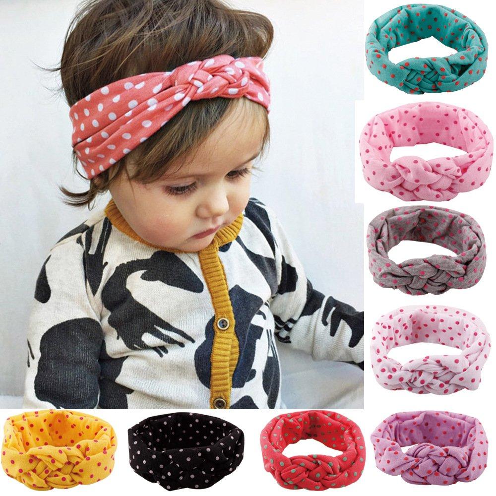 butterme Lot de 8mignon bébé fille enfant coton Turban avec nœud Motif pois Croix Bandeaux Bandeau - multicolore ZT00063