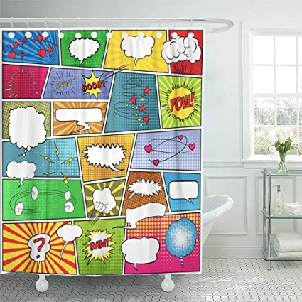 Amazon Emvency Shower Curtain White Book Abstract Of Comic Page