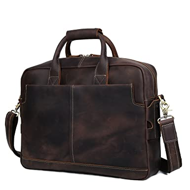 Amazon.com: BAIGIO Men's Vintage Genuine Leather Briefcase 15.6 ...