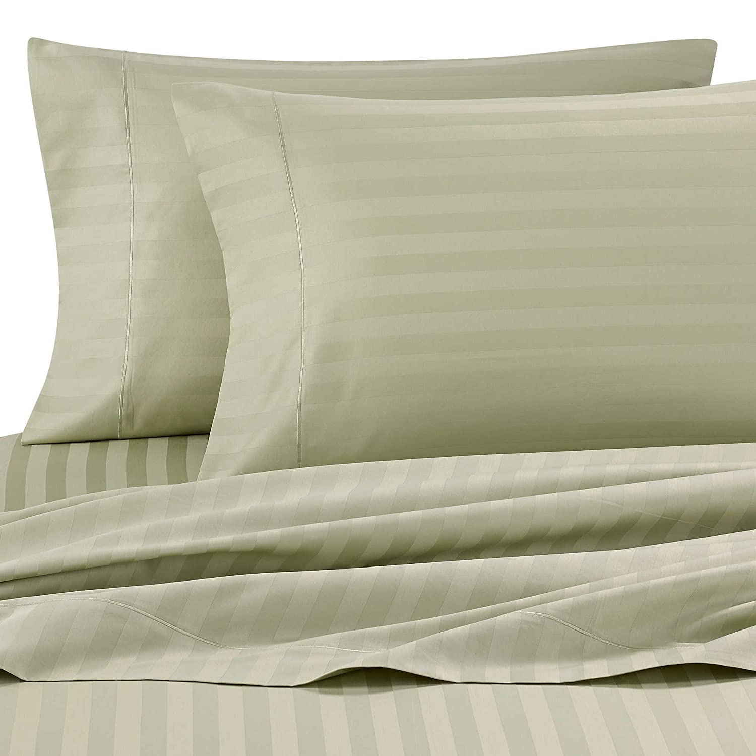Wamsutta Damask Stripe 500-Thread-Count PimaCott Queen Sheet Set in Sage Green