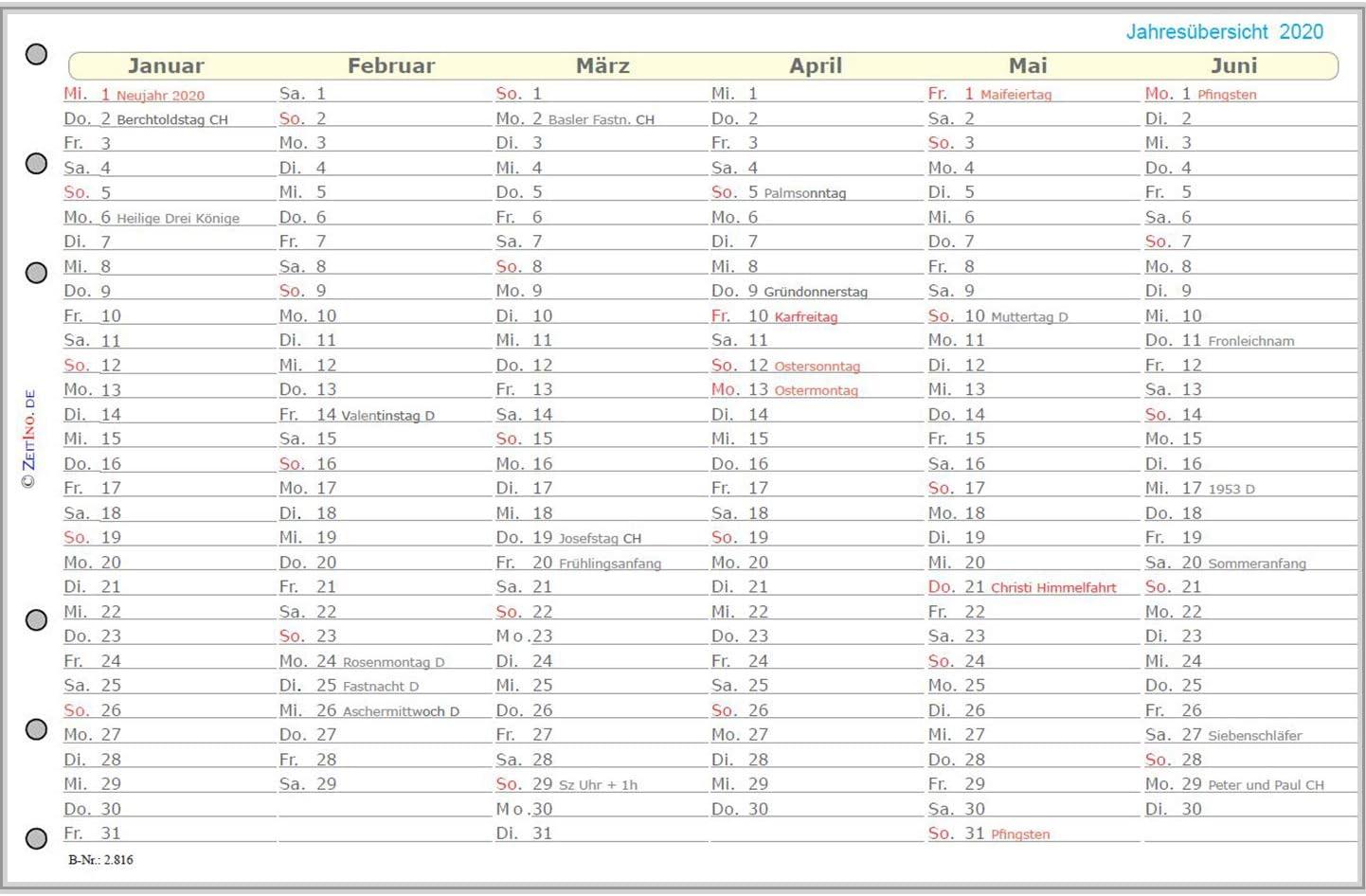 ZeitIno Premium Kalender 2020 f/ür Filofax Compact Personal Midi 95x172 2 Seiten je Woche Slimline