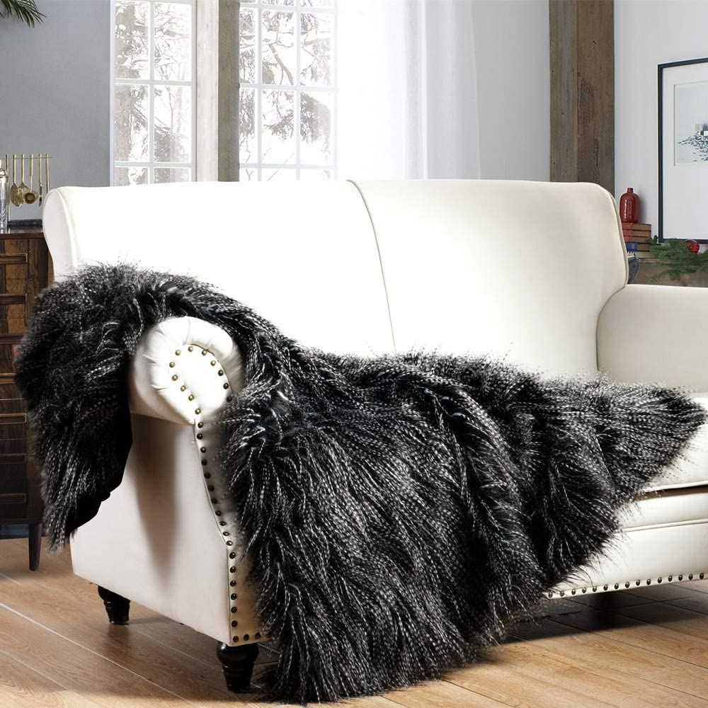 Luxury Faux Fur Throw Blanket, Black Peacock Feather Pattern Faux Fur Throw Blanket, Super Warm, Fuzzy, Elegant, Fluffy Decoration Blanket Scarf for Sofa, Armchair, Couch and Bed, 60''x80''
