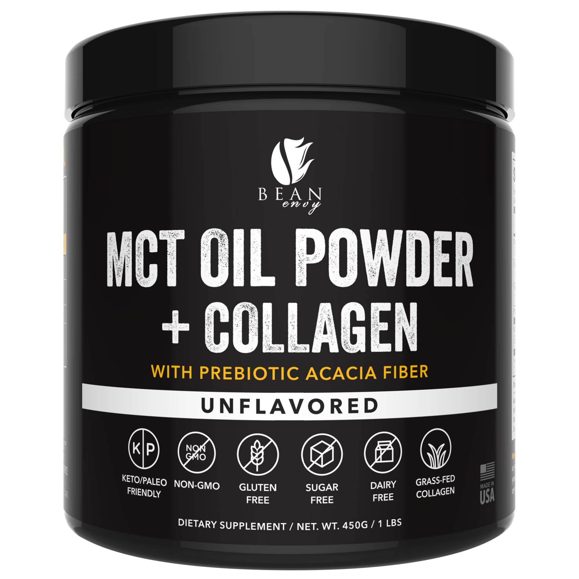 MCT Oil Powder + Collagen + Prebiotic Acacia Fiber - 100% Pure MCT's - Perfect for Keto - Energy Boost - Nutrient Absorption - Healthy Gut Support - Unflavored by Bean Envy