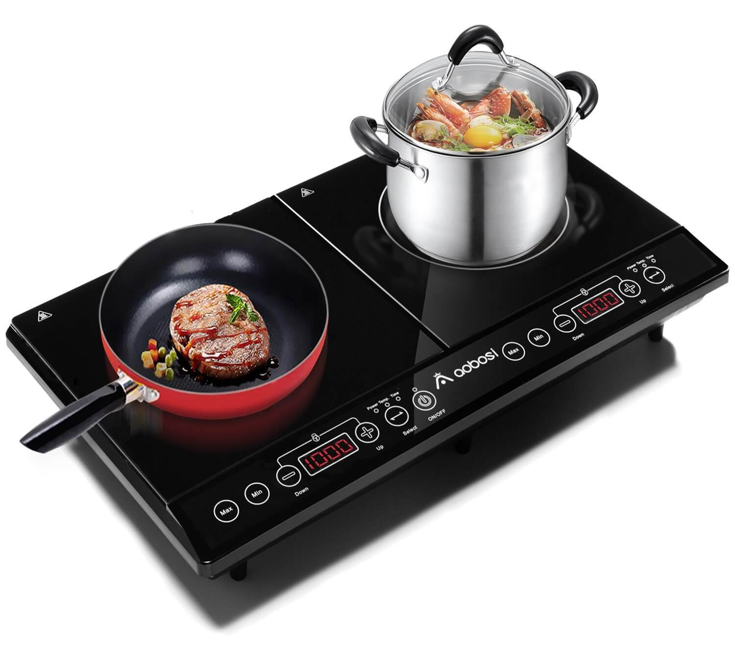 Aobosi Double Induction Hob, 2800w, Portable Digital Electric Cooker, Sensor Touch Control,Crystal Glass plate Qingzhou